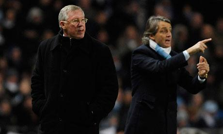 Roberto Mancini and Sir Alex Ferguson
