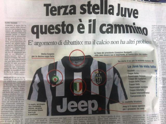 FOTO CLAMOROSA: Per TuttoSport la Juve ha già vinto Scudetto e Coppa Italia, stella compresa...