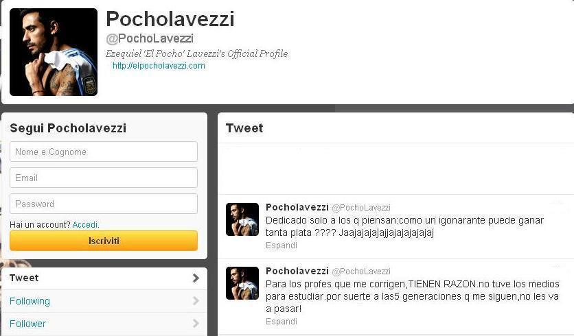 Lavezzi e i tweet polemici
