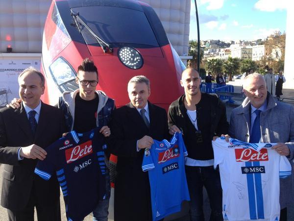 FOTO - Hamsik e Cannavaro alla presentazione del FrecciaRossa 1000, il treno più veloce d'Europa