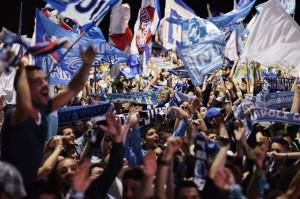 Napoli's football fans celebrate the vic