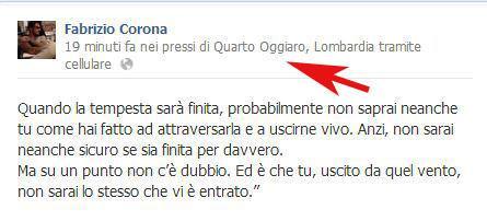FOTO: Corona, passo falso su Facebook. Poco prima delle 15 aggiorna il suo profilo e viene geolocalizzato