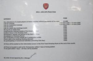 All'Arsenal come in caserma: ecco l'elenco delle multe per chi sbaglia...