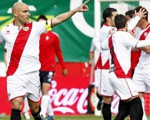 Rayo Vallecano midfielder Jose Maria Movilla celebrates after scoring against Osasuna