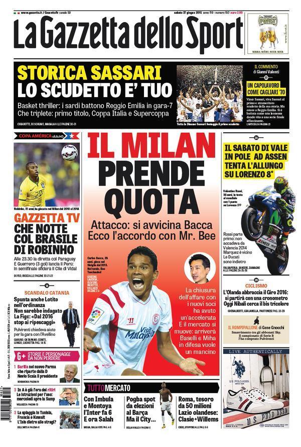 Gazzetta dello Sport 27-06-2015