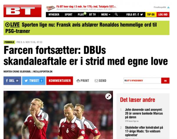 """""""Un'esperienza che diventa umiliazione"""", così il portale danese bt.dk"""