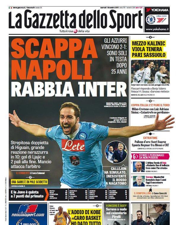 """La Gazzetta dello Sport: """"Scappa Napoli, rabbia Inter"""""""