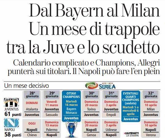 Calendario Napoli E Juve A Confronto.La Stampa Provoca Juve Con Un Calendario Piu Difficile Il