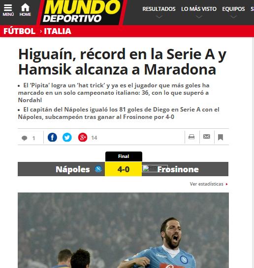 El Mundo Deportivo celebra il record del Pipita e il traguardo del capitano