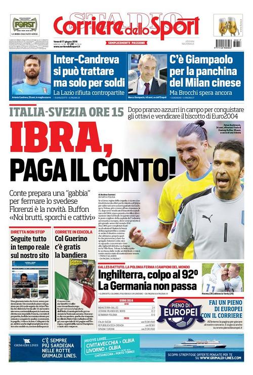 Apertura dedicata alla gara tra Italia e Svezia, con un chiaro riferimento a Ibrahimovic