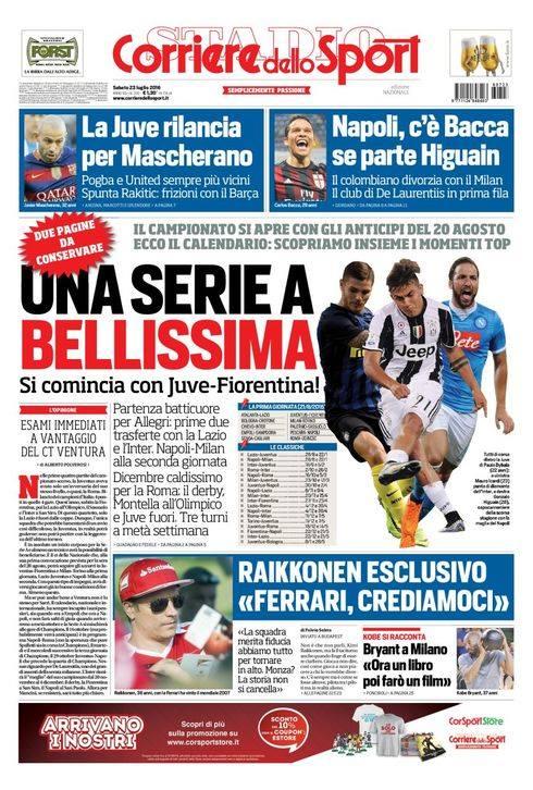 Ampio spazio in prima pagina per i nuovi calendari sul Corriere dello Sport. In taglio alto, prende piede l'idea di vedere Carlos Bacca in maglia azzurra in caso di partenza del Pipita