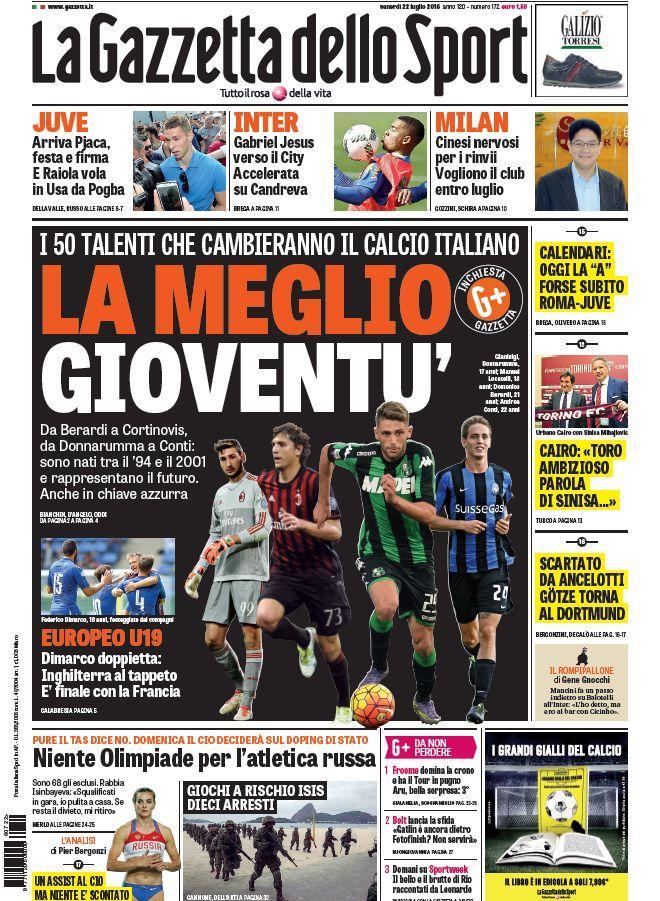 La Gazzetta dello Sport lancia in prima pagina un'inchiesta sui 50 giovani che cambieranno il calcio italiano.