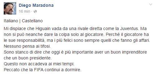 maradona facebook higuain