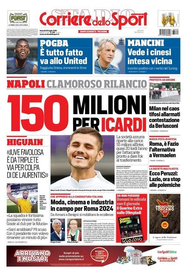 150 milioni per Icardi: il Corriere dello Sport fa il punto sulla clamorosa offerta del Napoli per l'Inter: 55 milioni per il cartellino più 20 lordi all'attaccante, cifre da capogiro!
