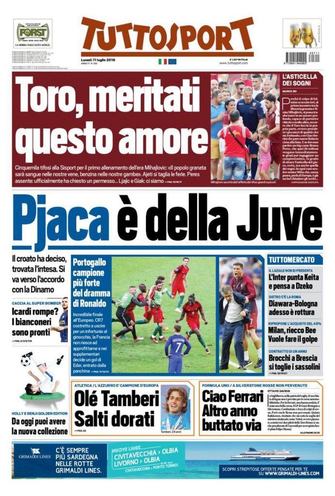 Pjaca alla Juve: così apre Tuttosport