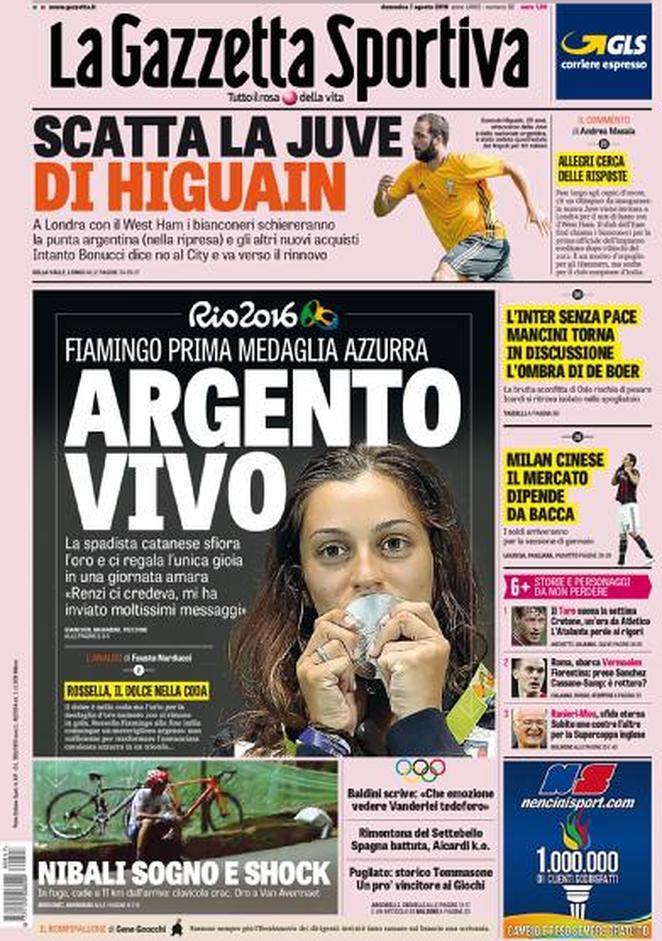 La Gazzetta dello Sport dà ampio spazio al debutto del Pipita, senza però dimenticare la prima medaglia azzurra a Rio 2016: quella di Rossella Fiamingo, argento nella spada.