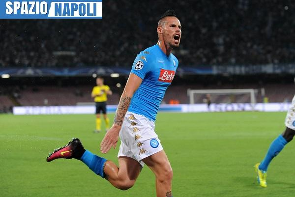 ITALY, Naples : Napoli's player Hamsik celebrates after scoring during the UEFA Champions League match between SSC Napoli and SL Benfica at the San Paolo Stadium in Naples on September 28; 2016. PH. CONTROLUCE/ PIETRO MOSCA