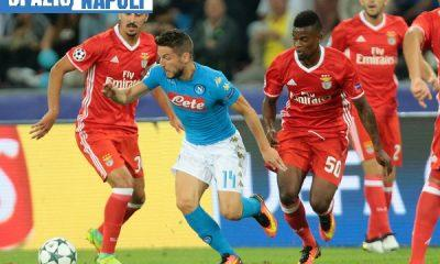 ITALY; Naples : Napoli's player Mertens vies with Benfica's player Semedo during the UEFA Champions League match between SSC Napoli and SL Benfica at the San Paolo Stadium in Naples on September 28; 2016. PH. CONTROLUCE/ PIETRO MOSCA