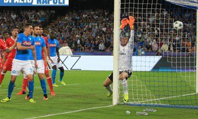 ITALY, Naples : Napoli's player Hamsik kicks to score a free kick during the UEFA Champions League match between SSC Napoli and SL Benfica at the San Paolo Stadium in Naples on September 28; 2016. PH. CONTROLUCE/ PIETRO MOSCA