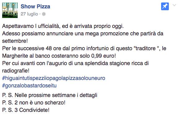 Higuain pizza infortunio