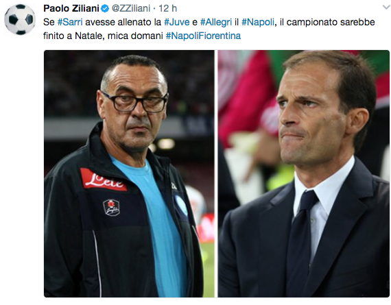 Ad allenatori invertiti juve e napoli la for Ziliani twitter