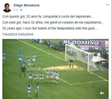 290ad56dc09b5 FOTO - Maradona ricorda la punizione alla Juve