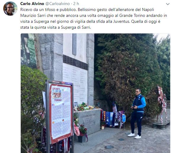 Sarri in visita a Superga per omaggiare le vittime del Grande Torino