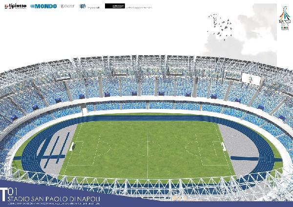 Ecco il nuovo stadio San Paolo: domina il colore azzurro Napoli