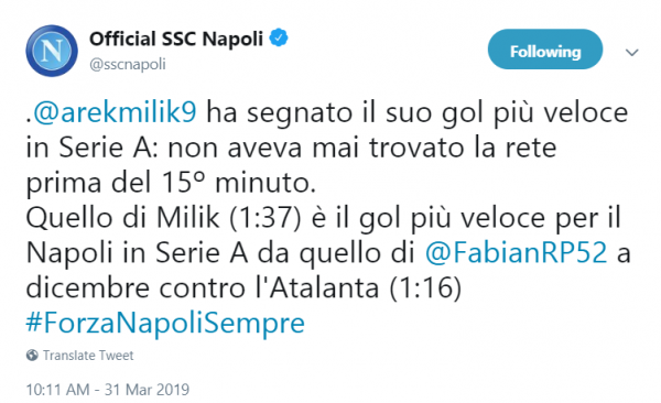 Tweet Napoli