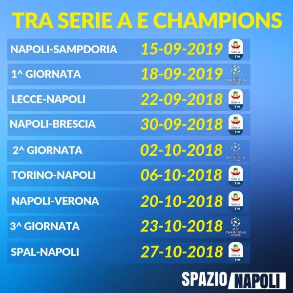 Calendario Napoli Serie A.Incroci Campionato Champions Napoli A Novembre Con Roma E