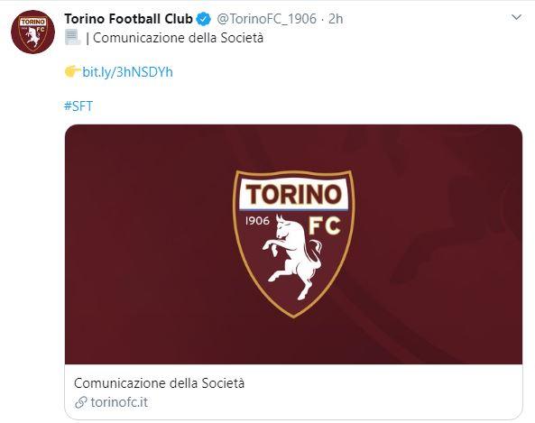 Torino, calciatore positivo al Covid-19. Il club annuncia:
