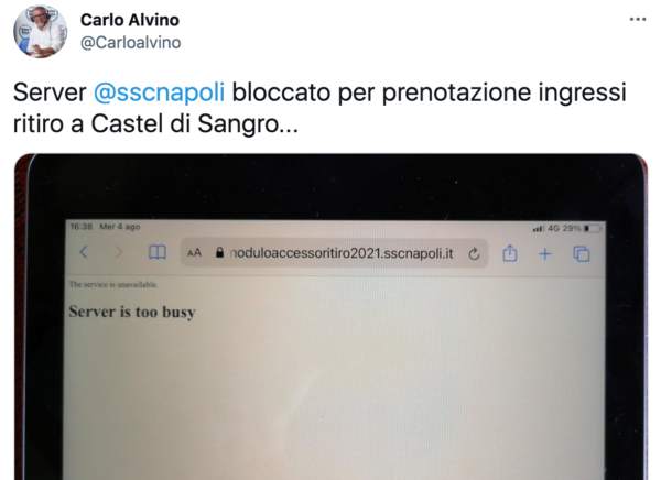 Ritiro a Castel di Sangro, in down il server del Napoli per la prenotazione degli allenamenti (FOTO)