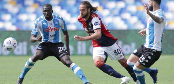 Kalidou Koulibaly of SSC Napoli and Leonardo Pavoletti of Cagliari Calcio compete for the ball during the Serie A football match between SSC Napoli and Cagliari Calcio at Diego Armando Maradona stadium in Napoli Italy, May 02nd, 2021. Photo Cesare Purini / Insidefoto CesarexPurini