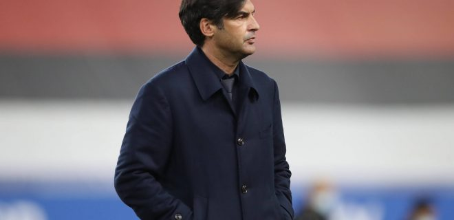 Genoa, Italy, 2nd May 2021. Paolo Fonseca Head coach of AS Roma during the Serie A match at Luigi Ferraris, Genoa. Picture credit should read: Jonathan Moscrop / Sportimage PUBLICATIONxNOTxINxUK SPI-1028-0015