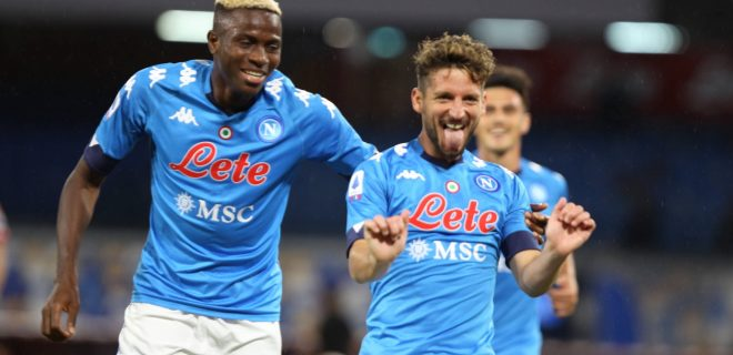 Italy: Serie A match SSC Napoli vs Genoa CFC Action during soccer match between SSC Napoli and GENOA CFC at Stadio San Paolo in Napoli .final result Napoli vs. GENOA CFC 6-0.In picture Osimhen Victor,FW FORWARD of SSC NAPOLI and Dries Mertens,FW FORWARD of SSC NAPOLI ,celebrate score Napoli Campania/Napoli Italy Copyright: SalvatorexEsposito