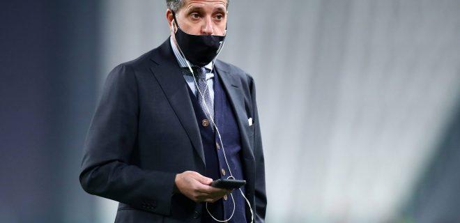 Fabio Paratici, Juventus Director of looks on prior to the Serie A match between Juventus FC and Spezia Calcio at Allianz Stadium Turin Italy on 02 March 2021. Turin Allianz Stadium Turin Italy Copyright: xMarcoxCanonierox SP24-0509